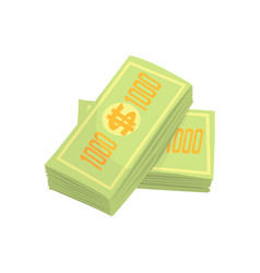 us dollars banknotes money stack colorful cartoon vector image