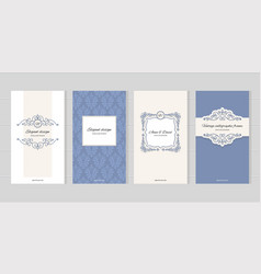 vintage card templates for wedding invitations vector image