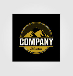 vintage mountain outdoor company logo in dark vector image