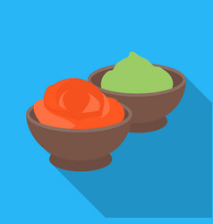 Wasabi and ginger icon in flate style isolated on vector