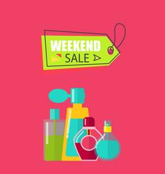 Weekend sale on cosmetics vector