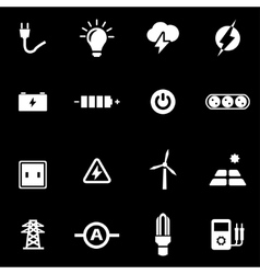 white electricity icon set vector image