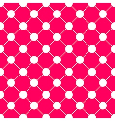 White Polka dot Chess Board Grid Hot Pink vector image