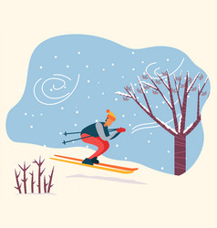 winter activity person skiing downhill vector image