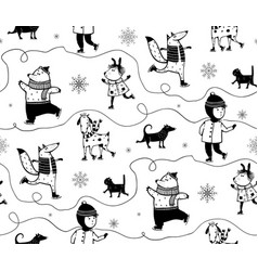 Winter holidays skiing animals and kid vector
