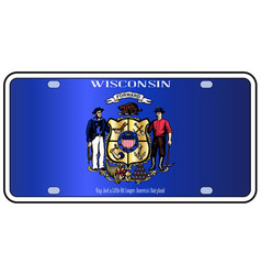 Wisconsin state license plate flag vector