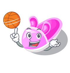 With basketball shoes baby in the shape cartoon vector