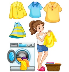 Woman doing laundry work vector image