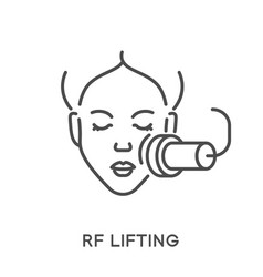 Woman face rf lifting beauty procedure and vector