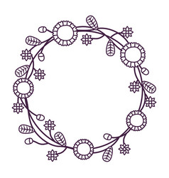 wreath with flowers and leaves vector image