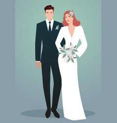 young couple newlyweds wearing wedding clothes vector image