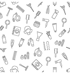 Beauty saloon pattern black icons vector image
