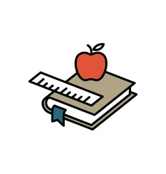 Books and apple vector image vector image