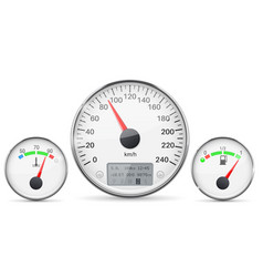 Car dashboard gauges with metal frames vector