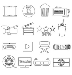 movie and cinema simple outline icons set eps10 vector image