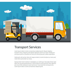 poster warehouse and transportation services vector image vector image