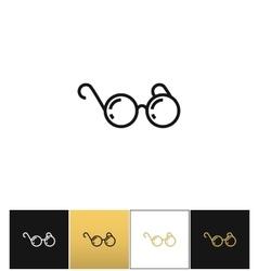 Round eyeglasses or black glasses icon vector