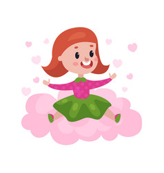 sweet redhead little girl sitting on a pink cloud vector image