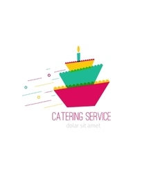 Catering colorful logo with wedding cake -concept vector image