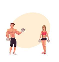 Man and woman bodybuilders weightlifters working vector