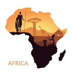 Map of africa with the landscape of sunset in the vector