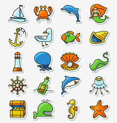 marine and nautical icons set in line thin and vector image