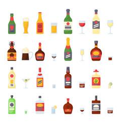 alcohol drinks in bottles cocktail glasses whiskey vector image