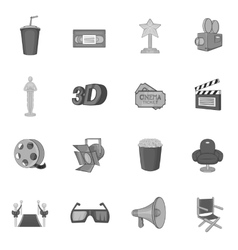 Cinema icons set black monochrome style vector image