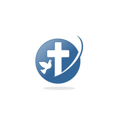 circle christian cross logo vector image