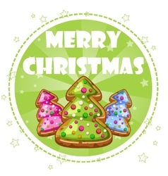 collection greeting card Christmas trees cookies vector image