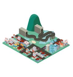 isometric city scene icons vector image