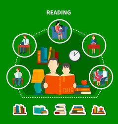 people reading literature composition vector image vector image