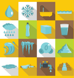 water icons set flat style vector image