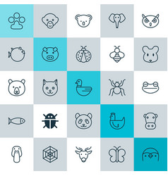 Zoology icons set collection of fish beetle vector