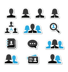 Businessman businesswoman user icons set vector image vector image