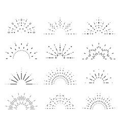 radiant sunrise lineart design icons set template vector image vector image