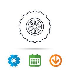 tractor wheel icon tire service sign vector image