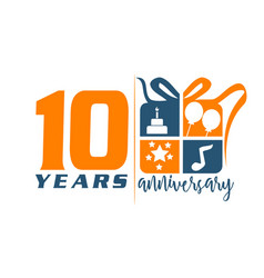 10 years gift box ribbon anniversary vector image