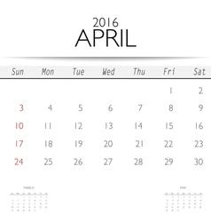 2016 calendar monthly calendar template for April vector