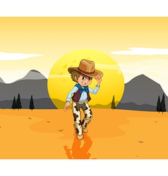 A cowboy at the desert vector