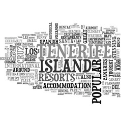 A tourist guide to tenerife text word cloud vector