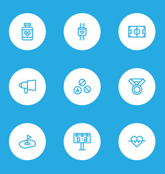 activity icons line style set with score display vector image