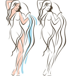 Aquarius woman outline drawing vector