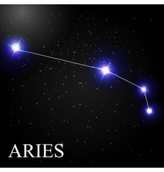 Aries Zodiac Sign with Beautiful Bright Stars on vector