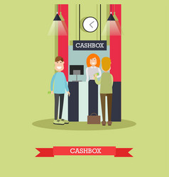 bank cashbox concept in flat vector image