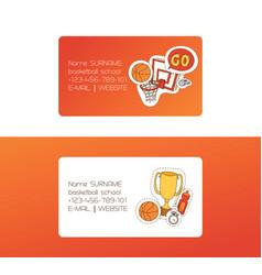 basketball sport basket-ball business card vector image