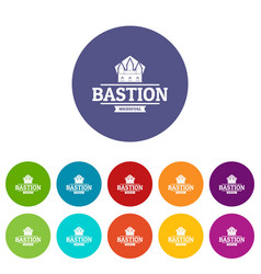 Bastion medieval icons set color vector
