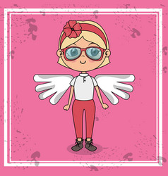beautiful girl with wings kawaii character vector image