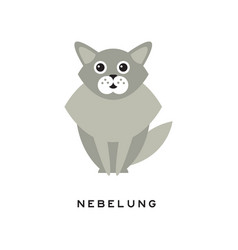 beauty nebelung cat pet with big shiny eyes long vector image