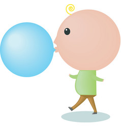 Big-headed boy is blowing a bubble gum vector
